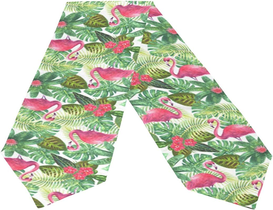 Oreayn Tropical Table Runner 70 Inch Green Weddings Parties Kitchen Table Dressers Living Room End Tables Tropical Pink Flamingo Table Cloth Runner Dining Outdoor Dinner Coffee Table