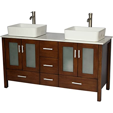 Amazon Com Chinese Arts Inc 58 Contemporary Style Double Sink Bathroom Vanity Model 2415 W Furniture Decor