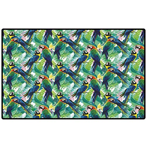 Door Mat Colorful Parrots and Exotic Flowers Area Rug for Home Decor Bedroom Garden