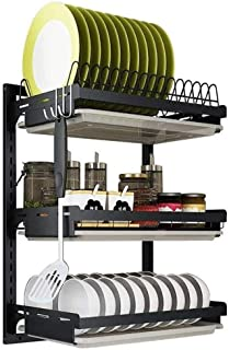 LLRYN Kitchen Shelf- 3 Tier Black Stainless Steel Dish Drying Rack Fruit Vegetable Storage Basket Wall Mounted Kitchen Sup...