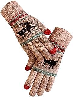 SHOBDW Camisetas, SHOBDW Guantes Mujeres invierno Alce de navidad Elegante de Invierno al Aire Libre para Mujer Invierno Mujer Tactiles y manoplas Acampada y invierno cálidos algodón Mujeres