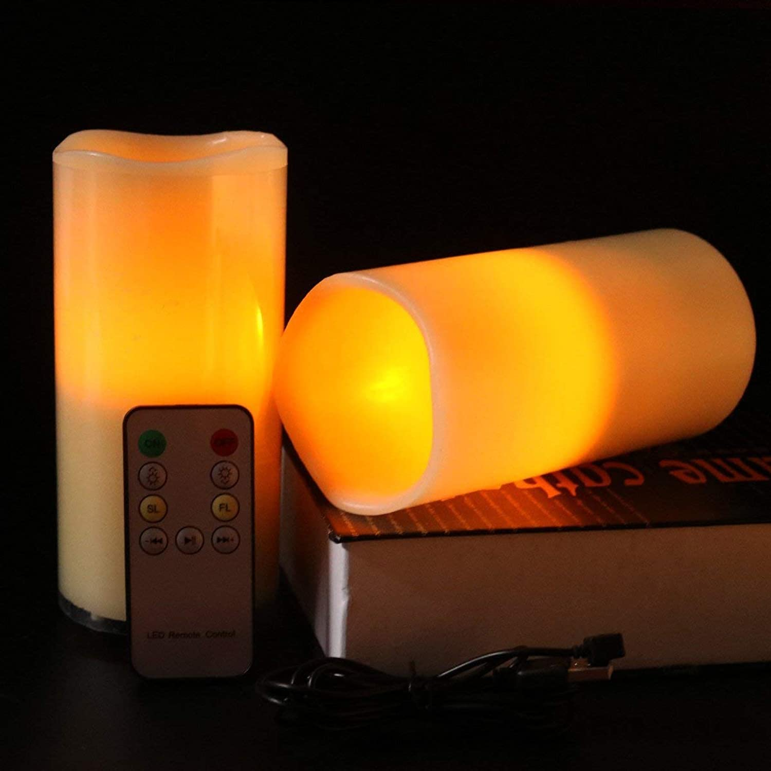 ADAHX LED Kerzenlicht, USB Charging Candle, Blautooth Music Paraffin Candle Light for Wedding Birthday Kirchen Party Decorations,Gelb,7.5X14.2cm
