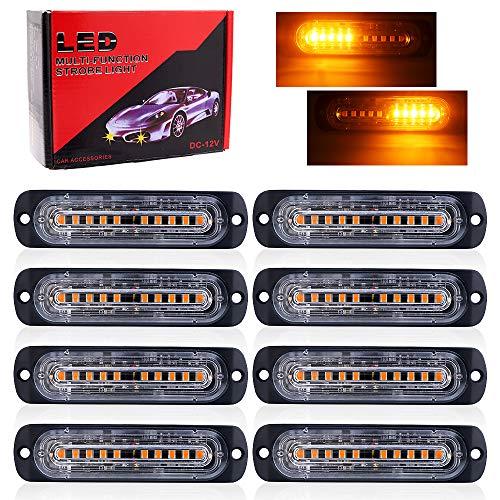 8PCS 12 LED Luces Estroboscopicas,12V 24V Luz de Emergencia Luces de Advertencia Precaución Estroboscópico Parachoques Parrilla Cola Cola Luz de trabajo para Caravana Campista Moto Furgoneta