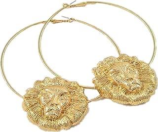 Women's Basketball Wives Style Alloy Hip Hop Gold Lion Head Hoop Earrings Rappers Lion Jewelry Earrings