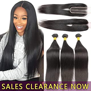 9A Human Hair 3 Bundles With 2x6 Lace Closure Deep Middle Part Best Brazilian Straight Virgin Hair Weave Indian Malaysian Remy Hair Extensions 6x2 Cheap Peruvian Natural Black Weft 14 16 18 With 12