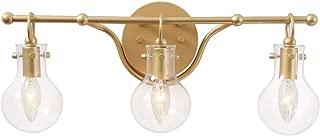KSANA Gold Bathroom Lighting Fixtures Over Mirror, 3-Light Bathroom Vanity Light with Clear Glass