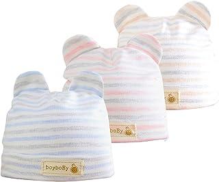 Bebé Beanie Sombrero Recién Nacidos Gorros para Bebés 100% Algodón Invierno Otoño Gorras Niños Niñas 3-6 Meses, 3 Piezas
