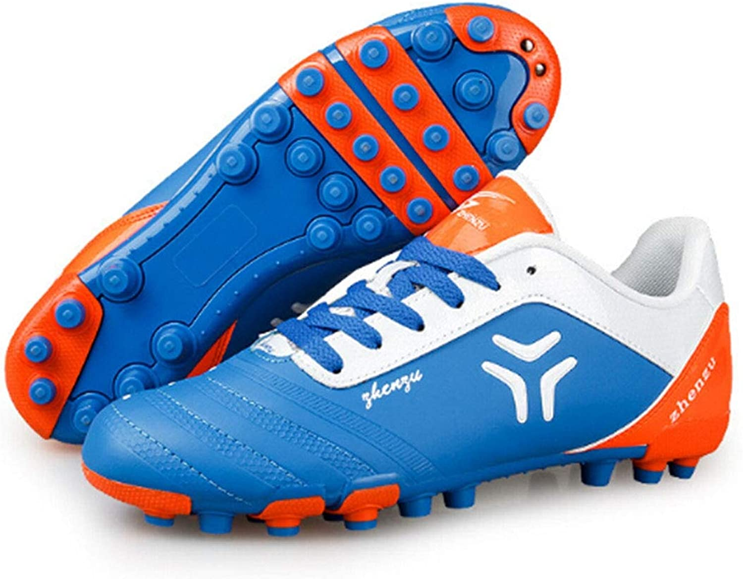 Linmatealliance Outdoor&Sports shoes Zhenzu Outdoor Sporting Professional Training PU Short Nail Football shoes, EU Size  44(bluee)