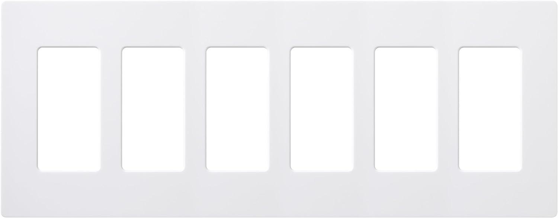Lutron Electronics CW-6-WH Claro 6-Gang Wallplate, White