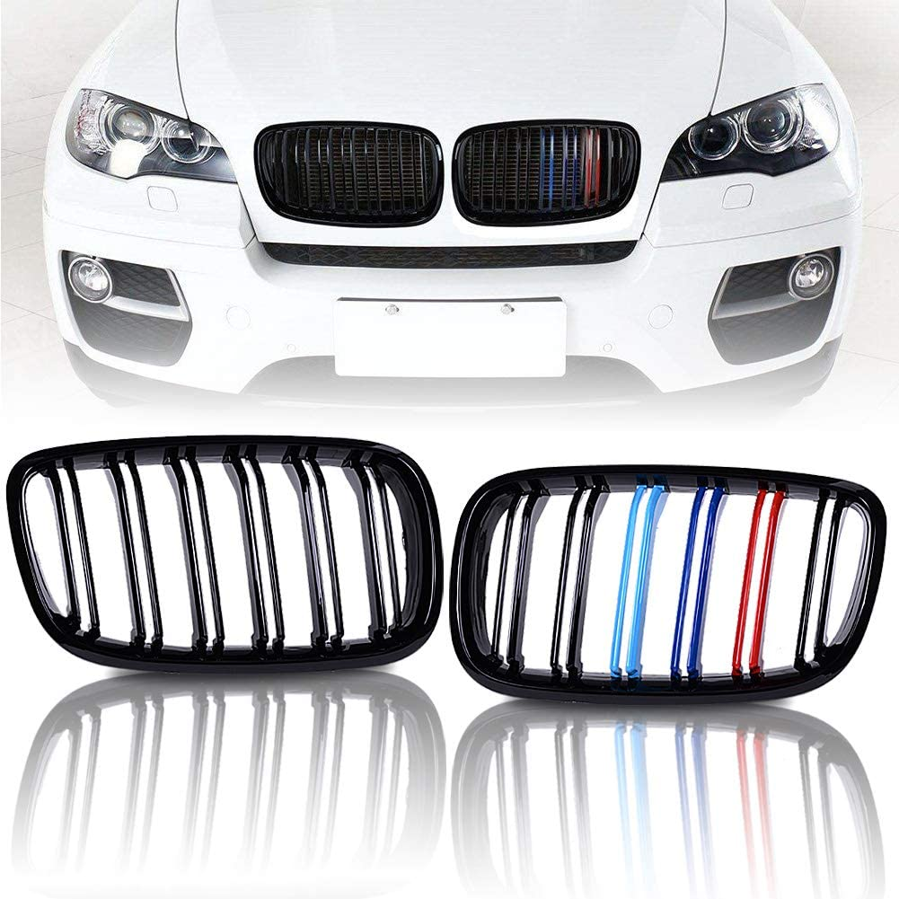 runmade Pair Front Kidney Grille Grill Glossy Black M-Color Compatible with BMW 2007 2008 2009 2010 2011 2012 2013 X5 X6 E70 E71