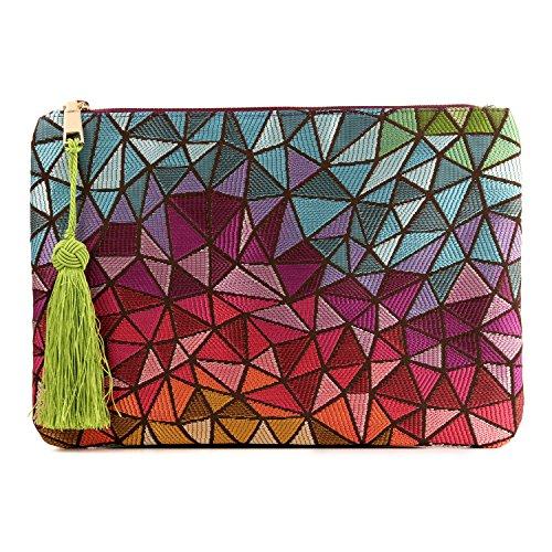 Otto Angelino Designer Damen Clutch - Unterarmtasche - Kleiner Kreditkartenhalter mit Münzfach - Ultra-schlanke, Leichte Tasche
