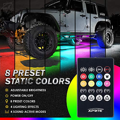 Xprite RGB Car Underglow Bluetooth Lights Kit, Underbody Neon Accent Exterior Cars LED Chasing Glow Light Strip w/ APP Control & Wireless Remote, for Vehicle SUV RV Trucks Pickups Boats-4PCS