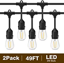 Svater 2 Pack S14 LED String Lights 49Ft Waterproof IP65 Commercial Grade Outdoor String Light UL Listed 15 Hanging Sockets 2W LED Bulbs E26 Base Warm White 2700K for Party Patio Backyard Porch