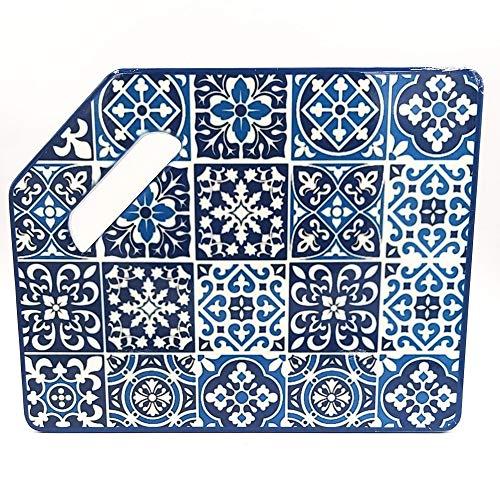 TORO DEL ORO | Tabla de cortar cocina - Tabla de cortar PVC reforzado - Preparar, trocear y picar - Diseños originales de azulejos andaluces (Porvenir)