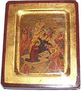 Nativity of our Lord Icon with sheets of Gold (Lithography) (5x4 inches)