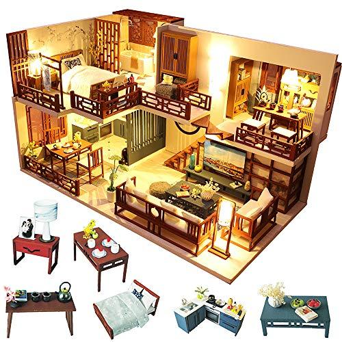 Fsolis Casa de Muñecas en Miniatura de Bricolaje con Mueble, Casa en Miniatura de Madera 3D con Cubierta Antipolvo y Movimiento Musical, Kit de Regalo Creativo de Casas para Muñecas-Quiet Time