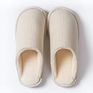 Indoor Short Plush Slippers Winter Couple Floor Home Simple Ladies Short Plush Cotton Slippers Warmer Soft Plush Home Shoes (Color : Beige, Size : 44-45 Yards)