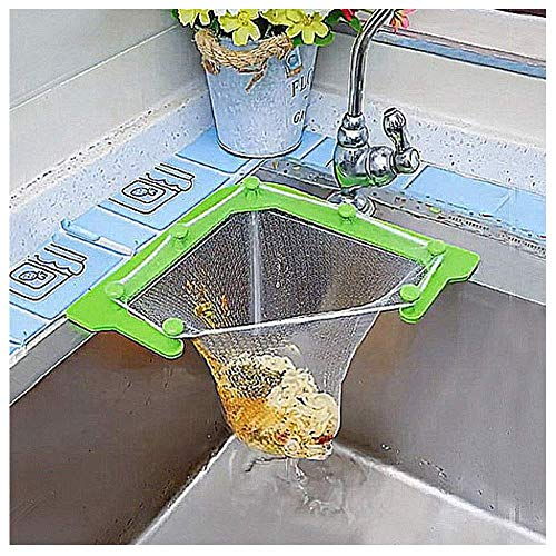 Sink Filter Strainer, Triangular Hanging Drain Net Bag with Bracket, Kitchen Leftovers Filter Basket Fine Mesh Bags, Kitchen Corner Sink Garbage Food Residue Storage Rack Holder