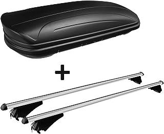 VDP Dachbox schwarz matt MAA320M günstiger Auto Dachkoffer 320 Liter abschließbar + Alu Relingträger Dachgepäckträger aufliegende Reling im Set kompatibel mit Opel Astra Sporttourer ab 10