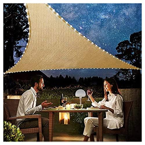 HEWYHAT Toldo con Iluminación De Luces Nocturnas LED Energía Solar, Velas Triangulares Transpirables Hidrófugas, Protección Solar Velas Solares para Parrilla Jardín,3X3X3m