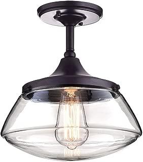 CLAXY Ecopower Vintage Metal Glass Ceiling Light 1-Lights Pendant Lighting Chandelier