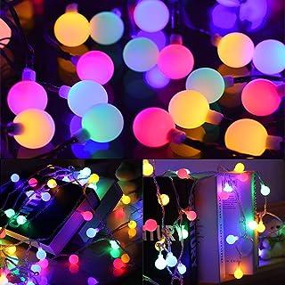 SYTUAM Cadena de Luces, 100LED 12m Tiras Bombilla Bola Redonda Decorativa Luminoso IP65 Impermeable 8 Modos Guirnalda Luminosas, Luces Solares LED Exterior Jardin, Casas, Boda, Fiesta, Festival