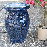 International Caravan Furniture Piece Navy Blue Wise Old Owl Ceramic Garden Stool