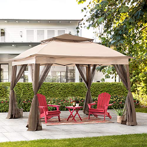 Sunjoy Mason 11x11 ft. 2-Tone Pop Up Portable Steel Gazebo, Tan & Brown