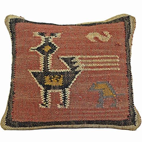 Designs Emporium Bird Kilim Housses de Coussin 50 cm x 50 cm Laine Coton Jute Indien Persan marocain