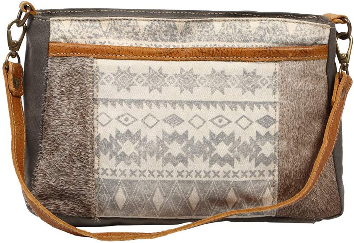 Myra Bag Classical Upcycled Canvas & Cowhide Leather Shoulder Bag S1222
