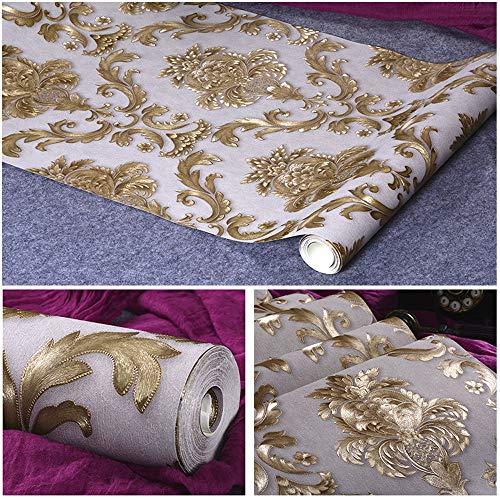 Papier peint de luxe de papier peint damassé floral d'or de luxe de scintillement de vinyle jaune grand papier de mur de rayure de damassé pour le petit pain à la maison de pièce de salle de séjour, p