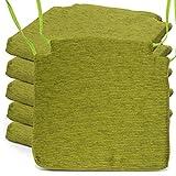 BCASE, Pack de 6 Cojines de Asiento y Silla Espuma Fantasy, 40x40cm, Desenfundable con Cremallera, Cómodos, Resistentes, Fácil de Limpiar, para Cocina, Cuarto, Etc. Verde