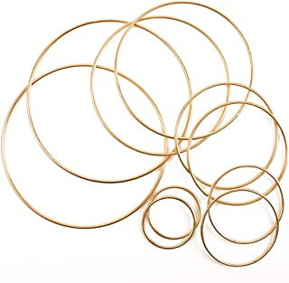Craft Hoops,10pcs Floral Wreath Hoop Metal Rings Supplies Macrame Rings Craft Dream Catcher Rings for DIY Decor, 5 Size(2inch, 3inch, 4inch, 5inch, 6inch)