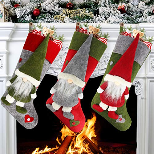 Aiduy Set Of 3 Christmas Stockings 18&Quot; With Cute 3D Plush Swedish Gnome Xmas Stockings For Fireplace Hanging Christmas Decorations And Party Decor