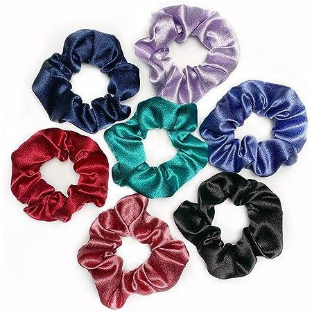 Jumbo Velvet Scrunchie Ponytail Holder Purple Violet Black Soft Stretchy Shine