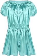 easyforever Men's Short Sleeve Soft Shiny Frilly Satin Dress Pants Nightwear Girly Pajamas Sissy Lingerie