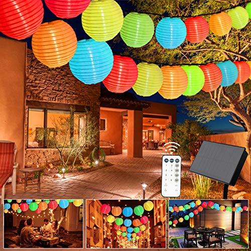 Greatever Solar Lichterkette, 10M 40er LED LampionLichterkette 8 Modi LED Lampion IP65 Wasserdicht Solar Lichterkette Außen Beleuchtung für Garten, Party, Hochzeit, Fest Deko