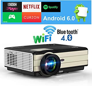 Wireless Smart Cinema Projector with Bluetooth, 4200 Lumen HD 1080p Supported LED Home & Outdoor Projector WiFi Directly C...