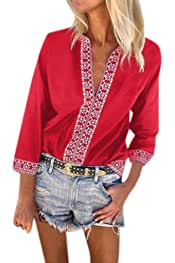 301782573d6 Mujer Camiseta de Estilo Etnico Cuello en V, Camisa Manga Corta Boho Casual  Tops t
