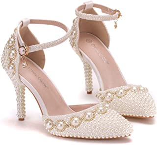 Women's Bridal Shoes,9 cm Beige Beaded Chain Wristband Rhinestones Pointed shoes Wedding shoes,Prom Club Business Evening Wedding Party Dress Bridesmaid shoes,42 EU