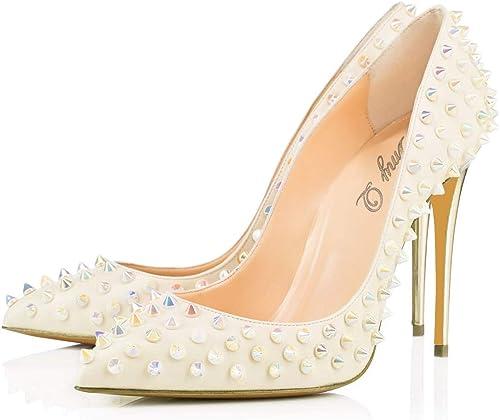 Pointu Chaussures Rivets Un Pied Couleur Unie Chaussures à Talons Hauts (Taille   45)
