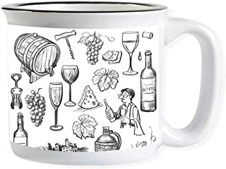 Wine Imitated Enamel Ceramic Cup,Hand Drawn Wine Set in Sketch Style Vintage Gourmet Country Themed Artwork Decorative for Office,3.9