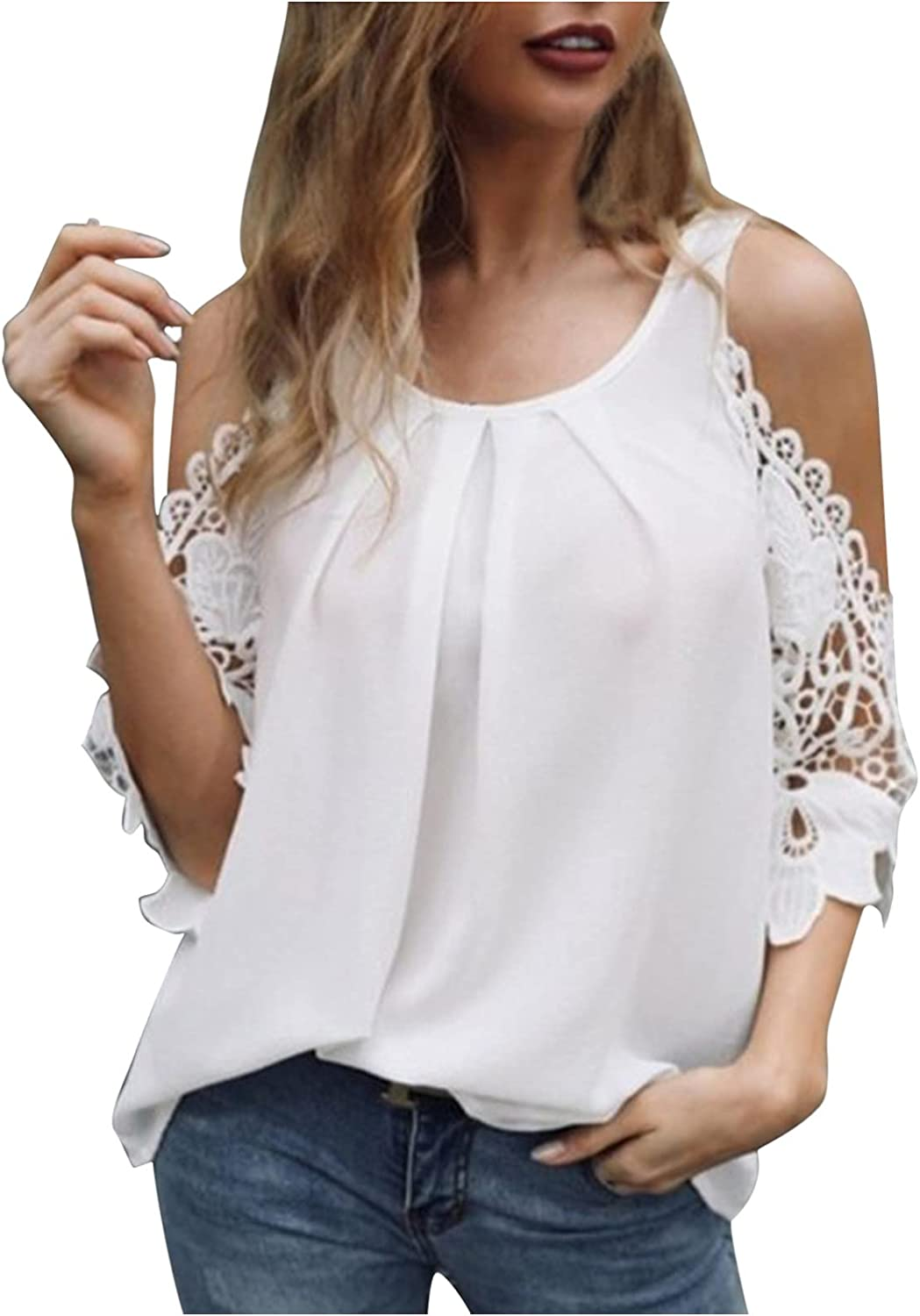 Women Summer Lace Off New product!! Shoulder Tops Omaha Mall Tshirt Leisure Commuting Fas