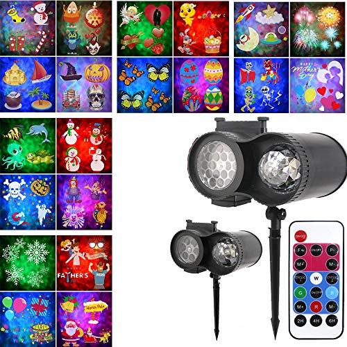 HL Navidad Proyector LED IP65 Proyección Cubierta Impermeable De La Lámpara con Control Remoto 20 Patrón De Diapositivas Binocular Agua Tarjeta De Blizzard Patrón De Proyección De La Lámpara