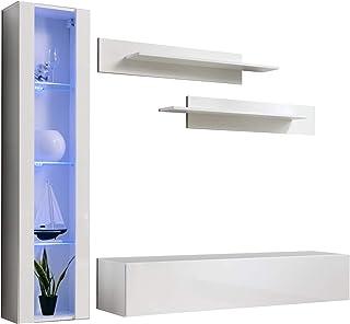 Conjunto Muebles de salón Nora Blanco Modelo G2 con luz LED