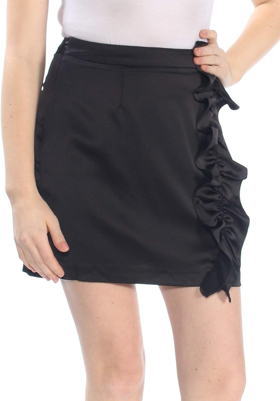 ASTR the label Womens Ruffled Mini Mini Skirt Black M