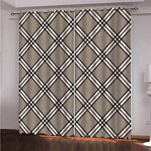 CLYDX Kids Blackout Curtains for Bedroom 3D Printed Thermal Insulated Curtains Eyelet Blackout Curtains for Bedroom 2 * W29.5 x L65 - Brown Diamond Pattern
