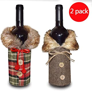 Christmas Wine Bottle Bag,Xmas Party Decorations Clothes Wine Bottle Sweater Wine Bottle Bags for Gifts Dress Sets 2 Pack