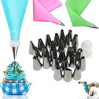 Piping Icing Tips with Pastry Bag, 28 Pieces Cake Decorating Tools Kits Supplies with 26 Icing Tips, 1 Silicone Pastry Ba...