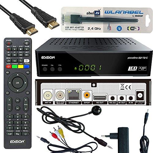 Edison Piccollino S2+T2/C Full HD Satelliten-Kabel-Receiver FTA HDTV DVB-S2/C/T2 (HDMI, AV, USB 2.0,Display,IR-Auge,CA,LAN) Deutsch vorpr.inkl.Wlanabel und HDMI Kabel